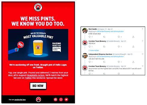 """Picture of a recent Camden Town Brewery Twitter ad campaign. The image shows a picture of a pint with the text: """"Bid on the world's most valuable pint. Raising money for Hospitality Action."""" There is a """"Bid Now"""" button. The image also includes favorable Twitter comments from participants."""