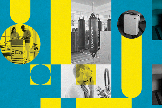 Image depicting a man shaving, a suitcase and a punching bag to showcase the products promoted through DTC marketing by the brands highlighted in this article.