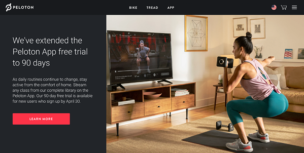 Peloton offered a 90-day trial period as shelter-in-place orders affected most of the US.