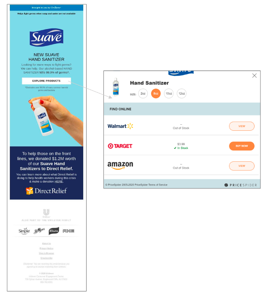 """Picture of a Suave email highlighting their new hand sanitizer. The email includes a button that says """"Explore products,"""" which lets users see where the product is in stock online and in store."""